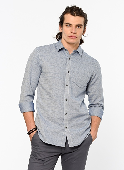 Selected Uzun Kollu Slim Fit Gömlek Mavi